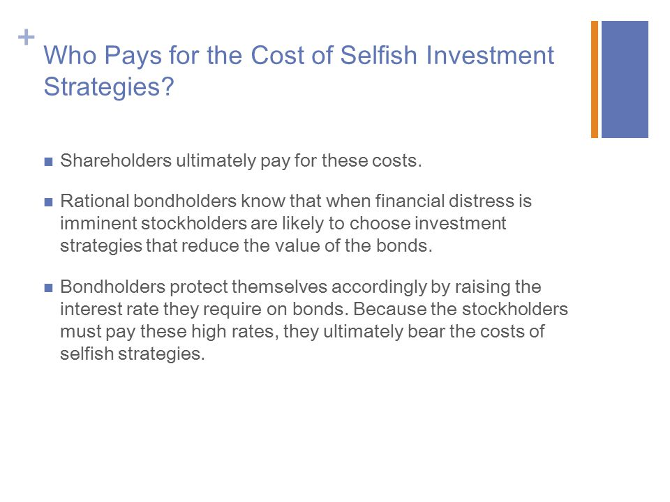 Who Pays for the Cost of Selfish Investment Strategies