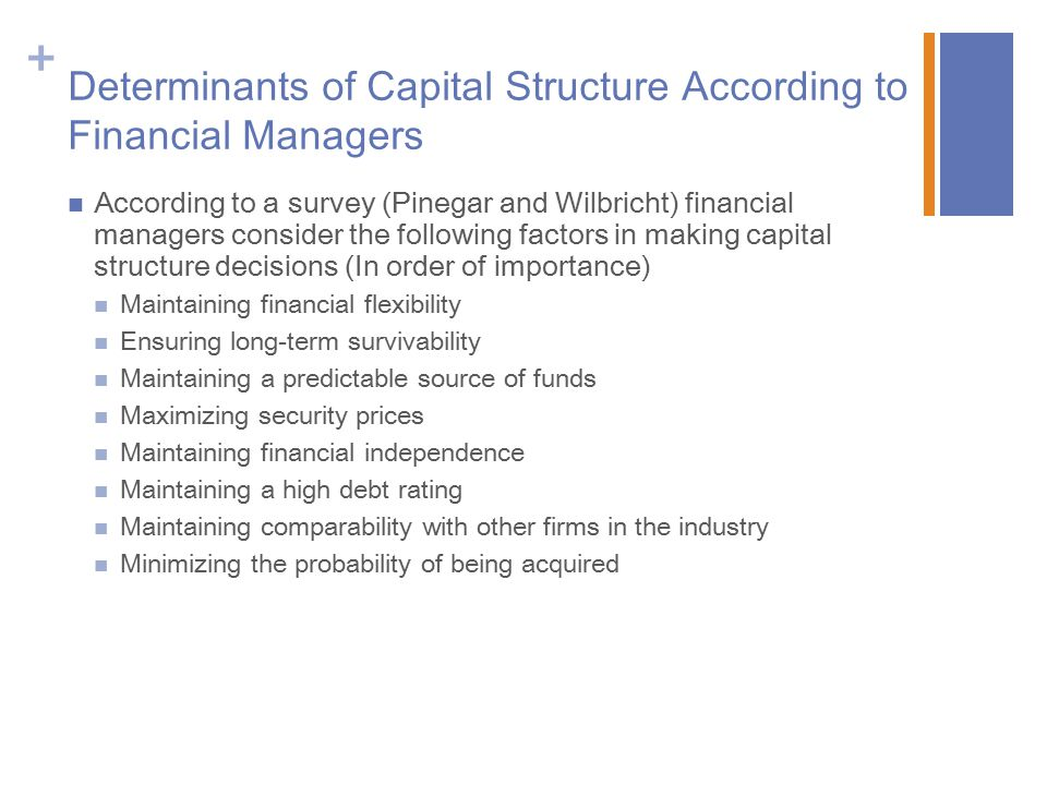 Determinants of Capital Structure According to Financial Managers