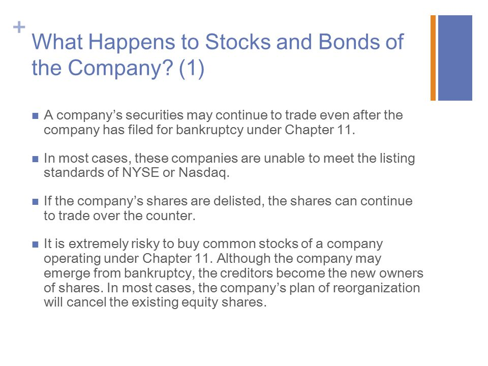 What Happens to Stocks and Bonds of the Company (1)