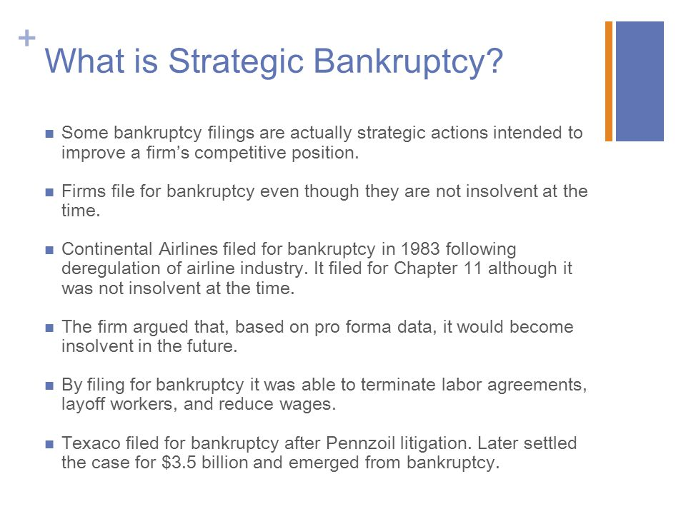 What is Strategic Bankruptcy