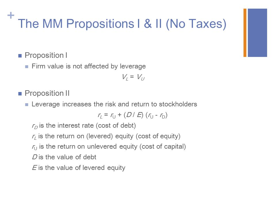 The MM Propositions I & II (No Taxes)