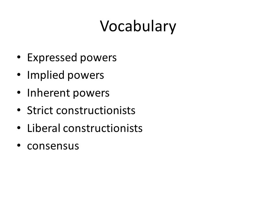 Vocabulary Expressed powers Implied powers Inherent powers