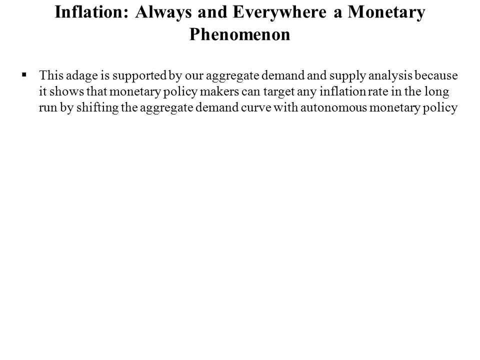 Inflation: Always and Everywhere a Monetary Phenomenon