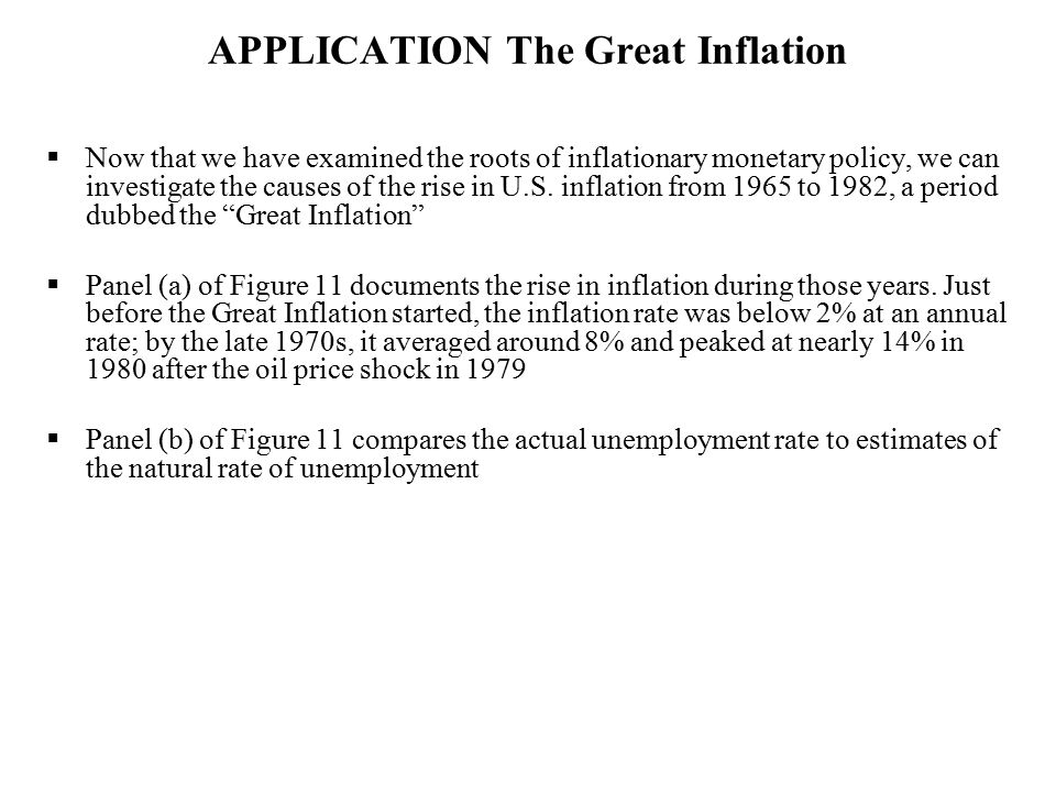 APPLICATION The Great Inflation