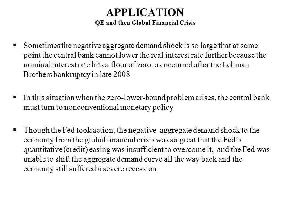 APPLICATION QE and then Global Financial Crisis