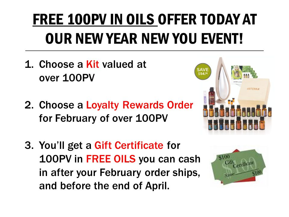 FREE 100PV IN OILS OFFER TODAY AT OUR NEW YEAR NEW YOU EVENT!