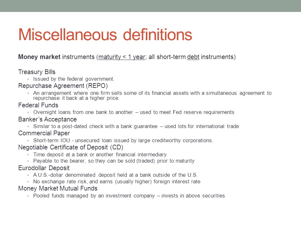 Miscellaneous definitions