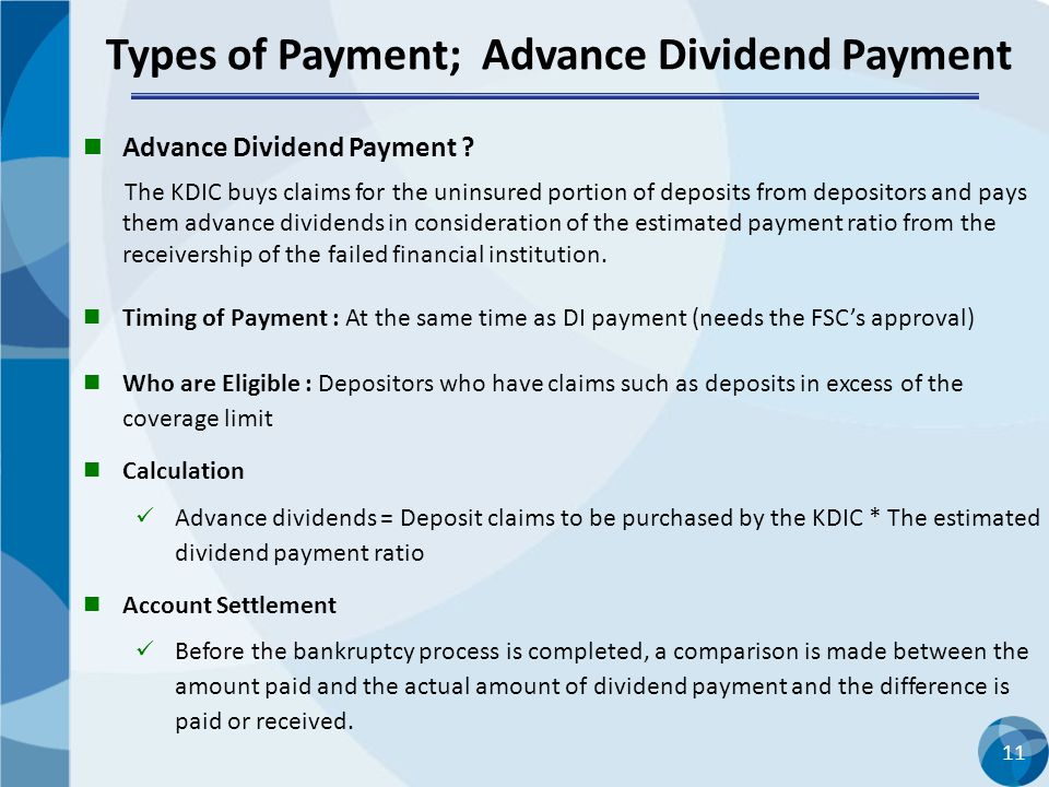 Types of Payment; Advance Dividend Payment