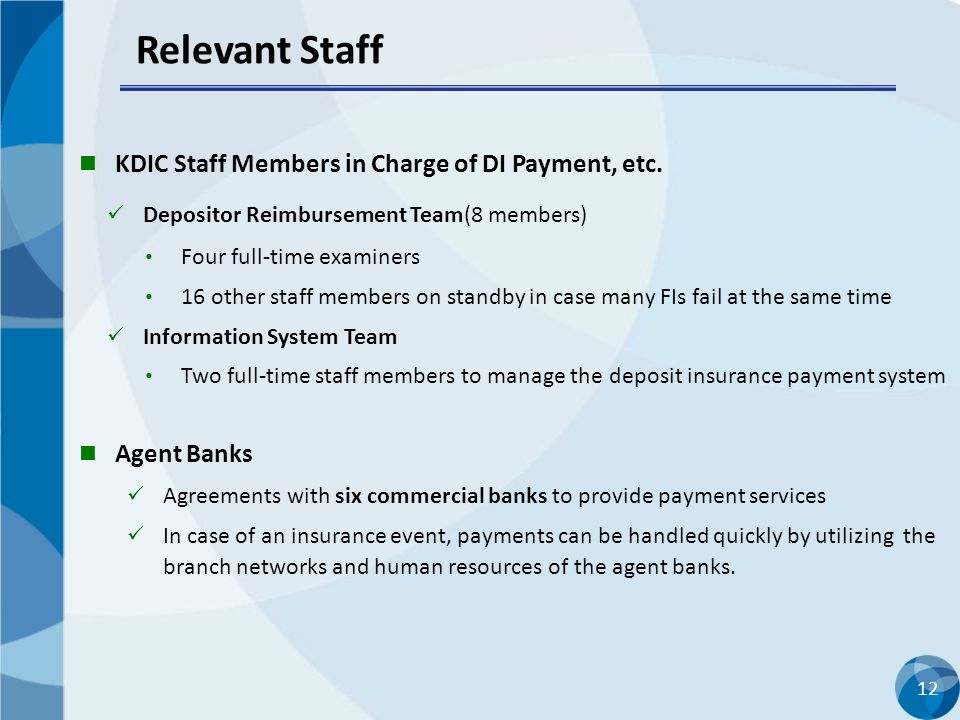Relevant Staff KDIC Staff Members in Charge of DI Payment, etc.