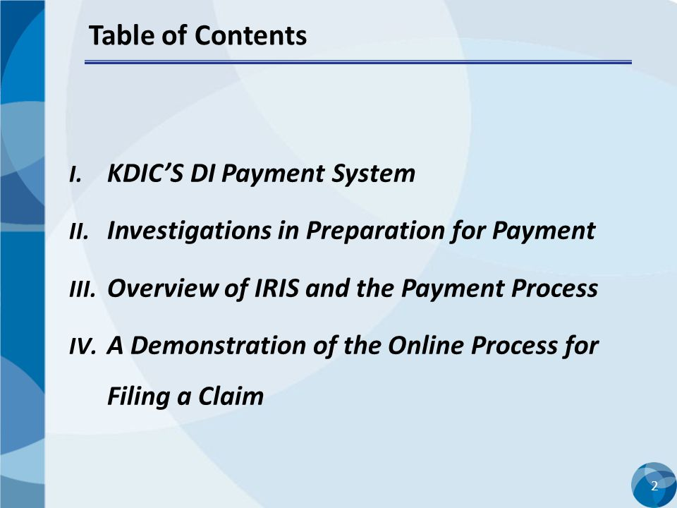 Table of Contents KDIC'S DI Payment System