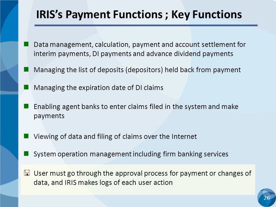 IRIS's Payment Functions ; Key Functions