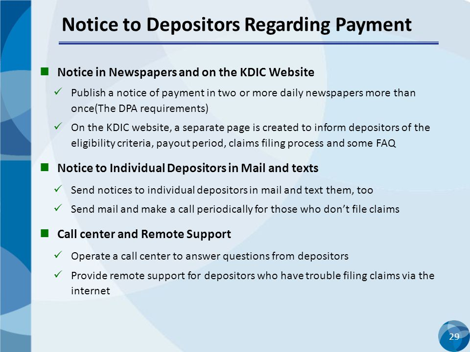 Notice to Depositors Regarding Payment
