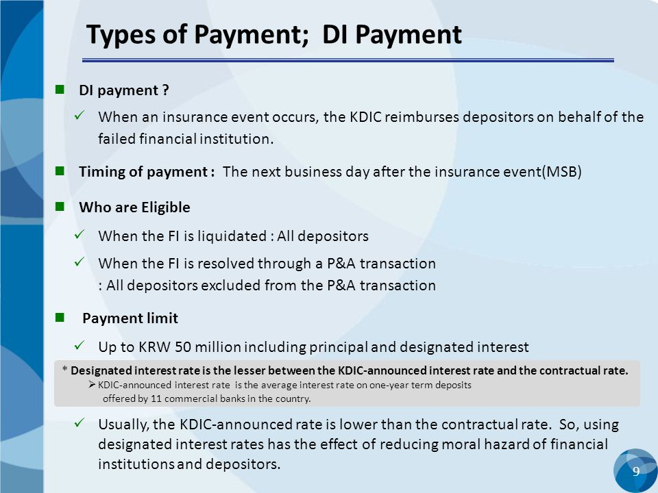 Types of Payment; DI Payment