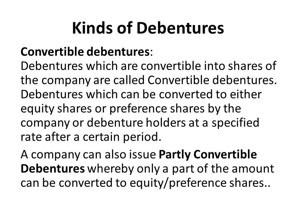 Kinds of Debentures