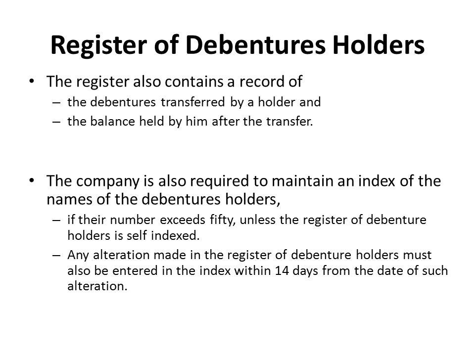 Register of Debentures Holders