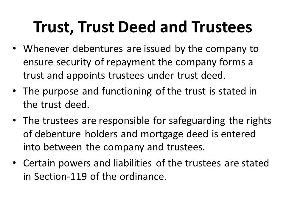 Trust, Trust Deed and Trustees