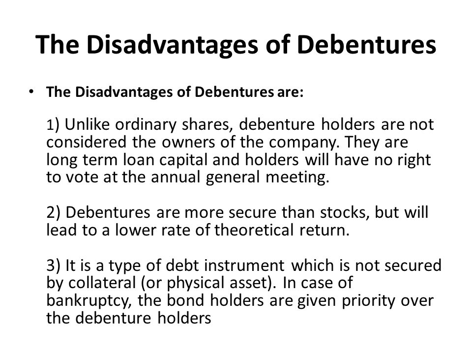 The Disadvantages of Debentures
