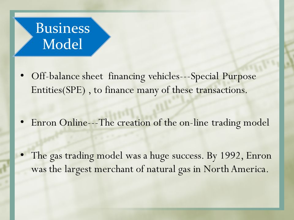 Business Model Off-balance sheet financing vehicles---Special Purpose Entities(SPE) , to finance many of these transactions.