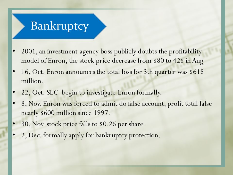Bankruptcy 2001, an investment agency boss publicly doubts the profitability model of Enron, the stock price decrease from $80 to 42$ in Aug.