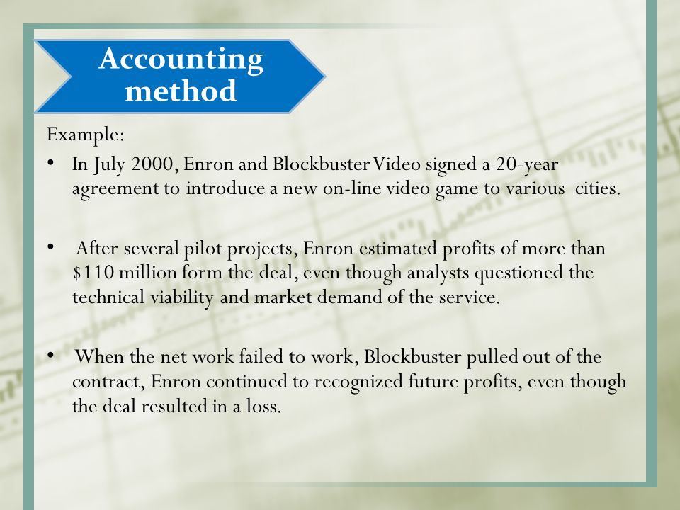 Accounting method Example: