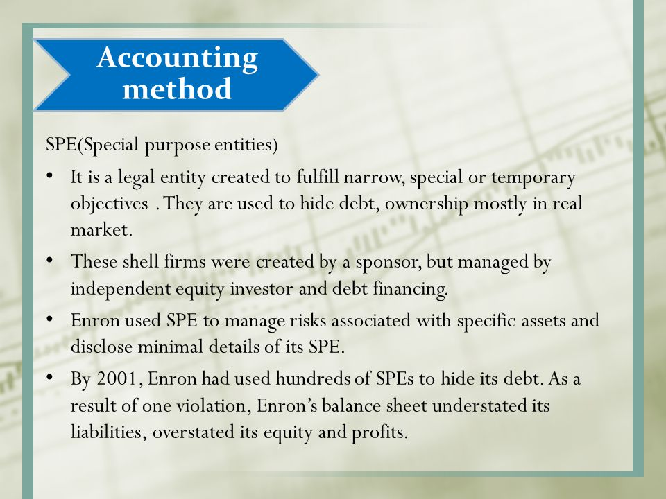 Accounting method SPE(Special purpose entities)