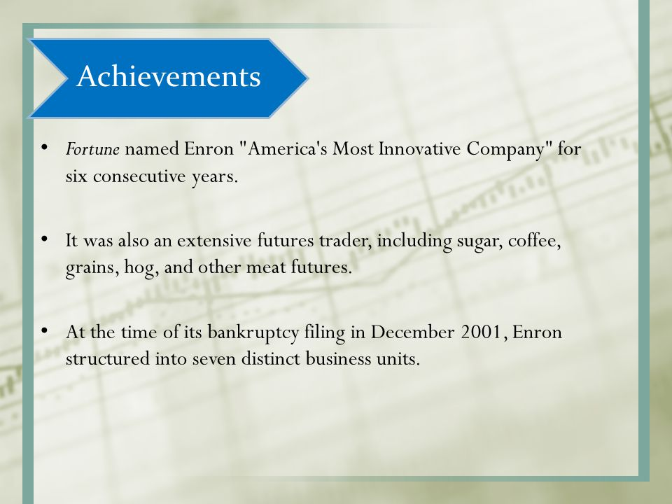 Achievements Fortune named Enron America s Most Innovative Company for six consecutive years.