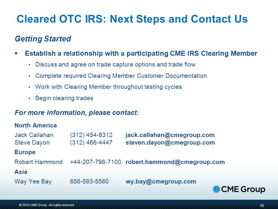 Cleared OTC IRS: Next Steps and Contact Us