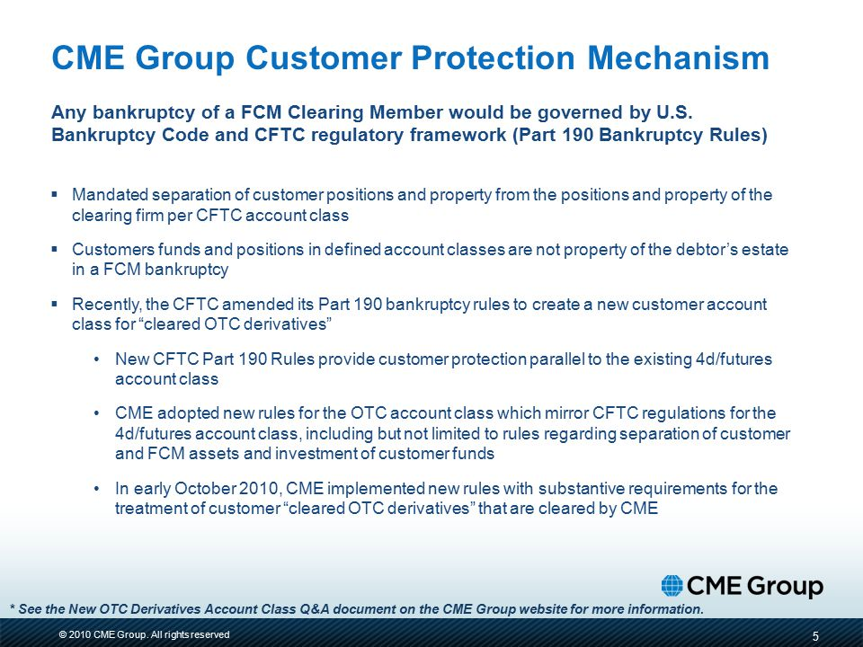 CME Group Customer Protection Mechanism