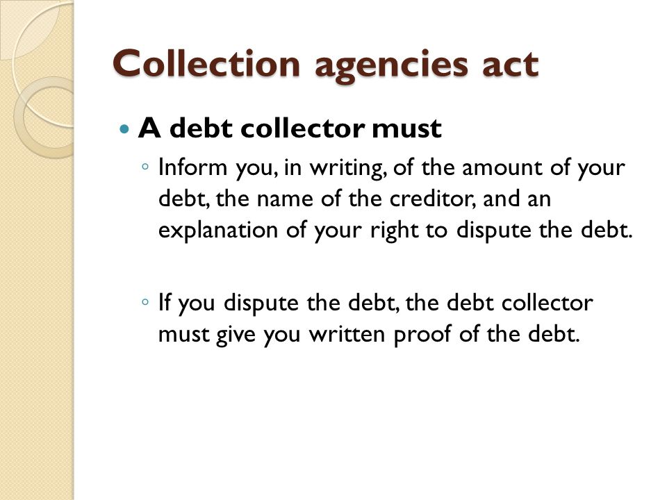 Collection agencies act