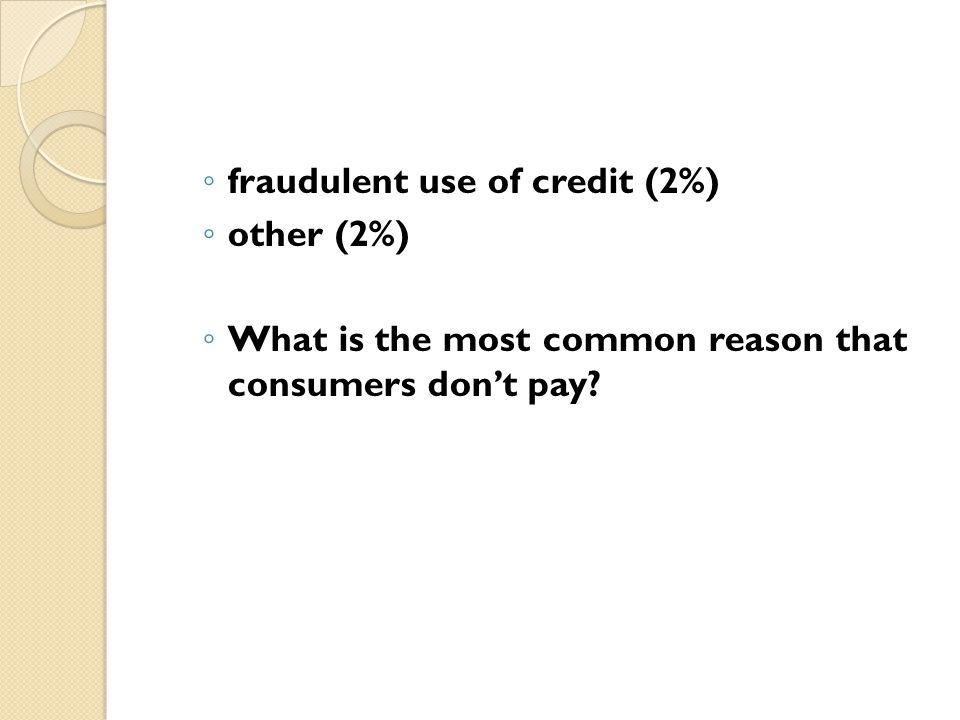 fraudulent use of credit (2%)