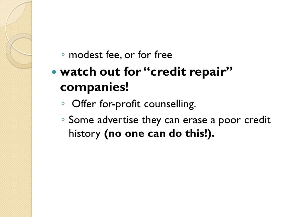 watch out for credit repair companies!