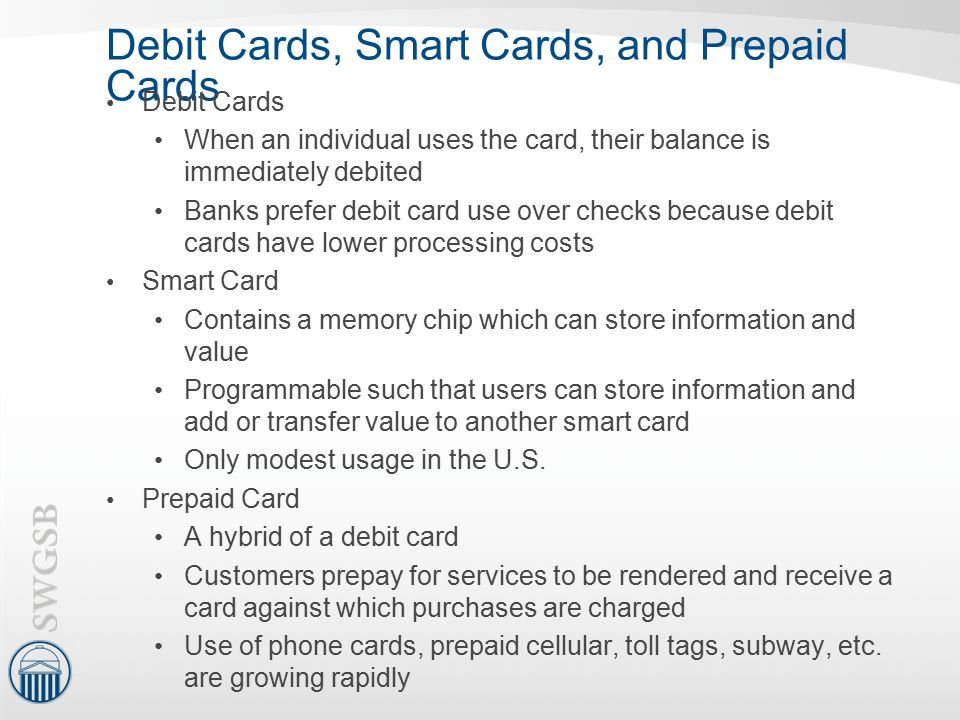 Debit Cards, Smart Cards, and Prepaid Cards