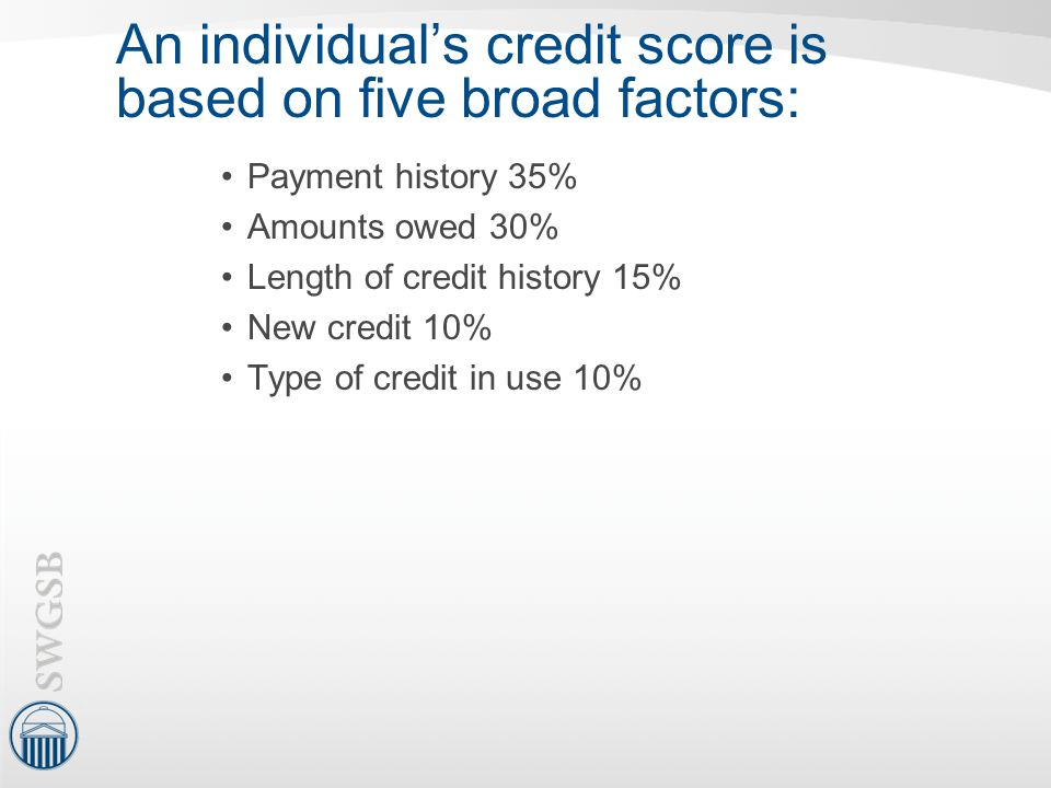 An individual's credit score is based on five broad factors: