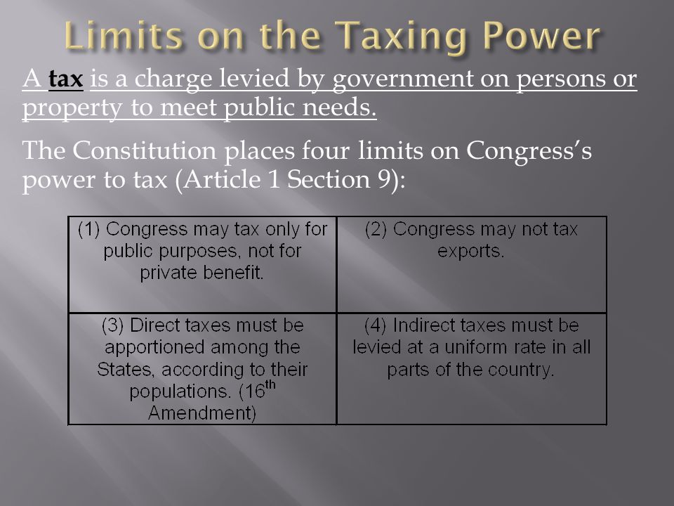 Limits on the Taxing Power