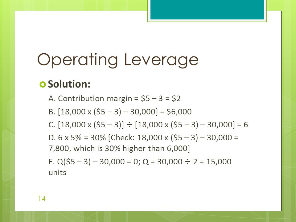 Operating Leverage Solution: A. Contribution margin = $5 – 3 = $2