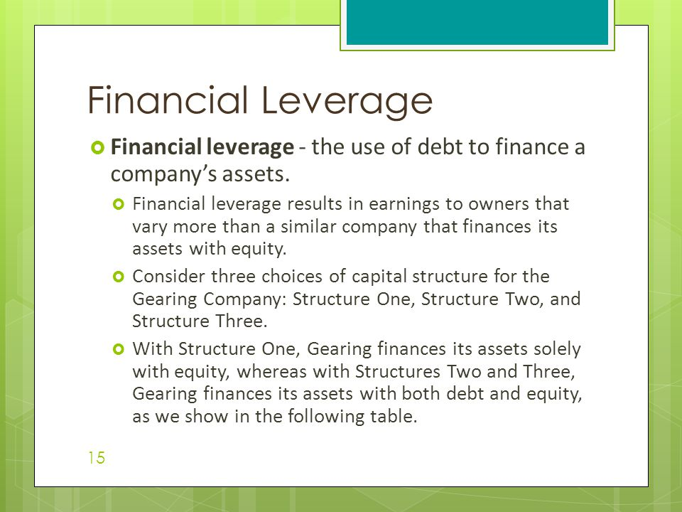 Financial Leverage Financial leverage - the use of debt to finance a company's assets.