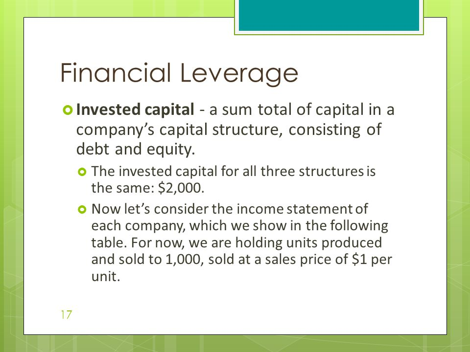 Financial Leverage Invested capital - a sum total of capital in a company's capital structure, consisting of debt and equity.