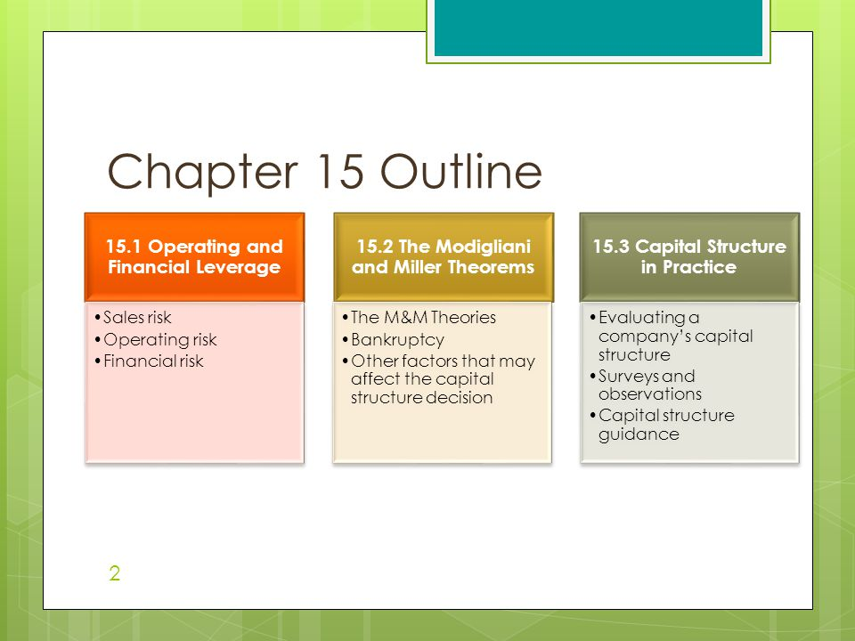 Chapter 15 Outline 15.1 Operating and Financial Leverage