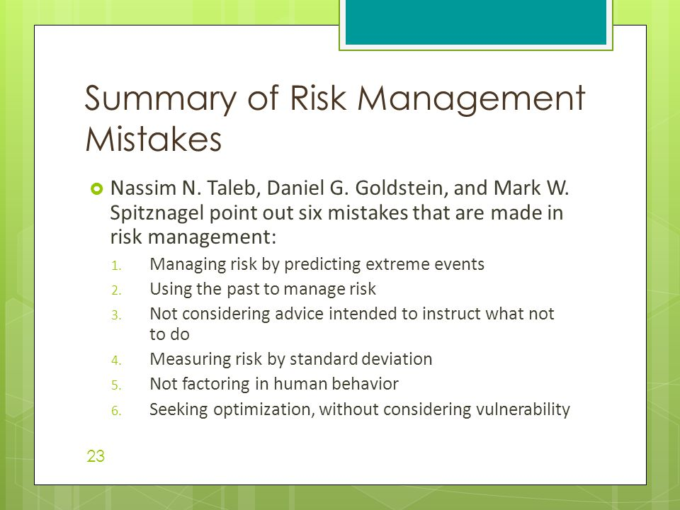Summary of Risk Management Mistakes