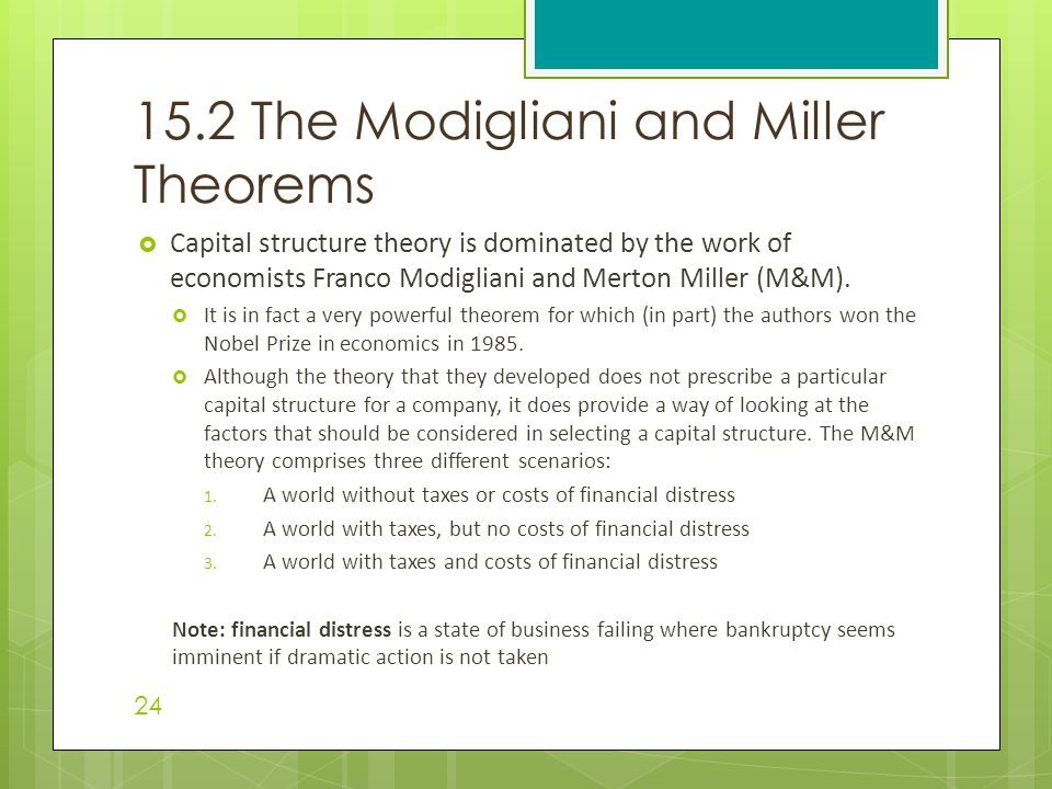 15.2 The Modigliani and Miller Theorems
