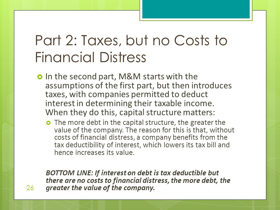 Part 2: Taxes, but no Costs to Financial Distress