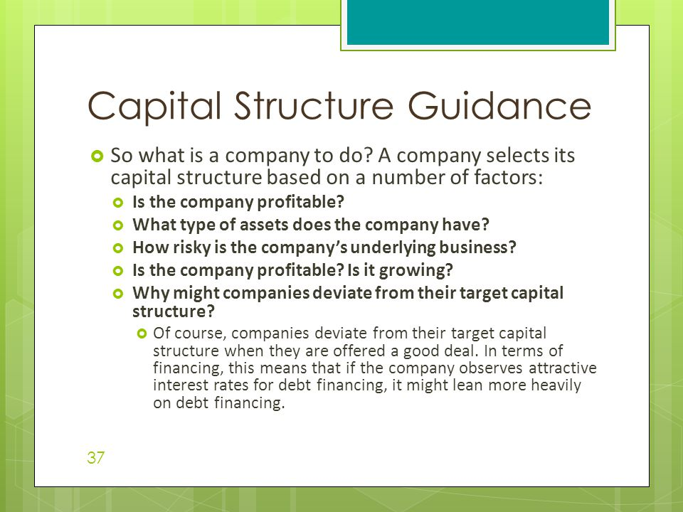 Capital Structure Guidance