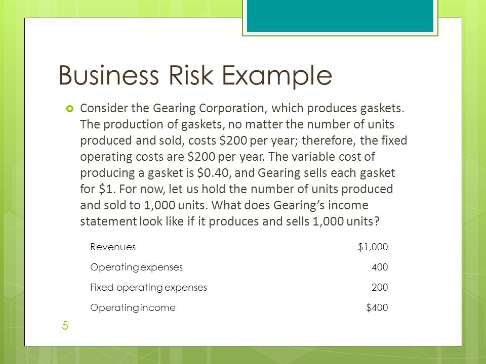 Business Risk Example