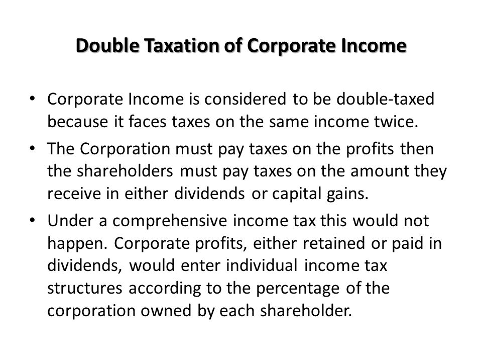 Double Taxation of Corporate Income
