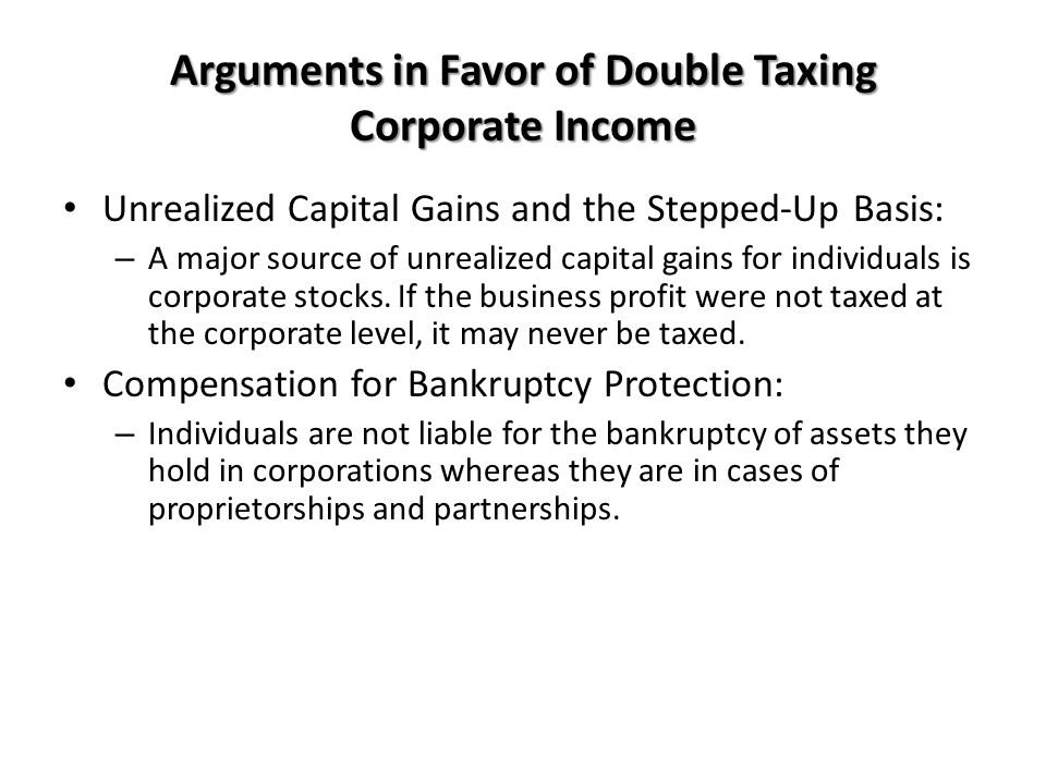 Arguments in Favor of Double Taxing Corporate Income