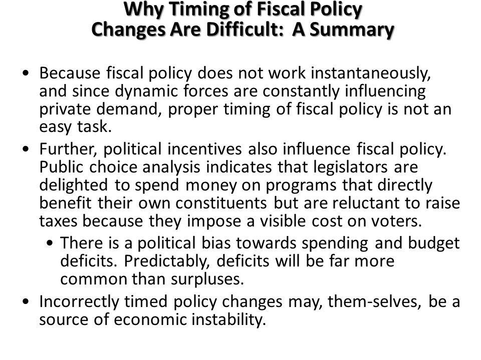 Why Timing of Fiscal Policy Changes Are Difficult: A Summary