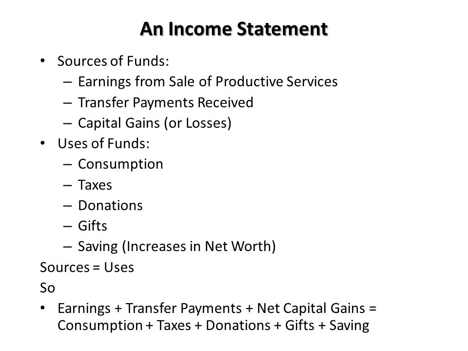 An Income Statement Sources of Funds: