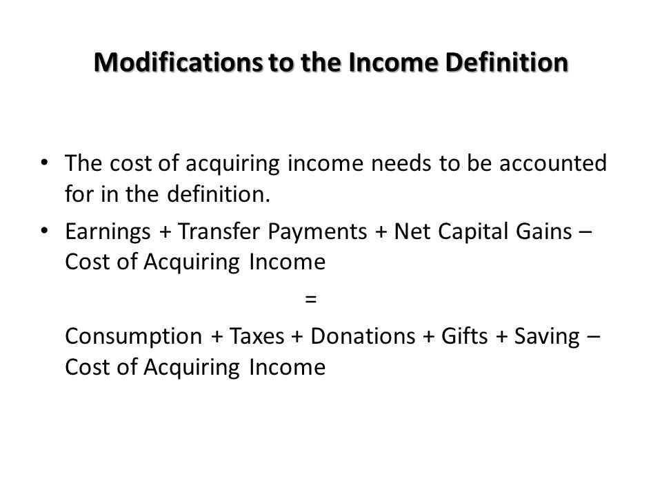 Modifications to the Income Definition
