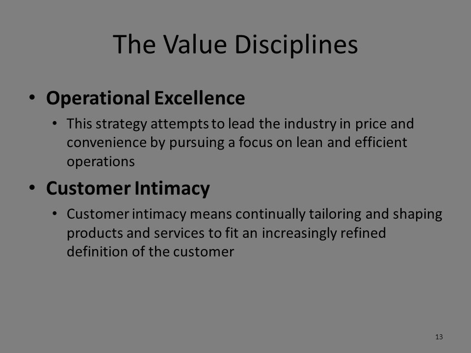 The Value Disciplines Operational Excellence Customer Intimacy