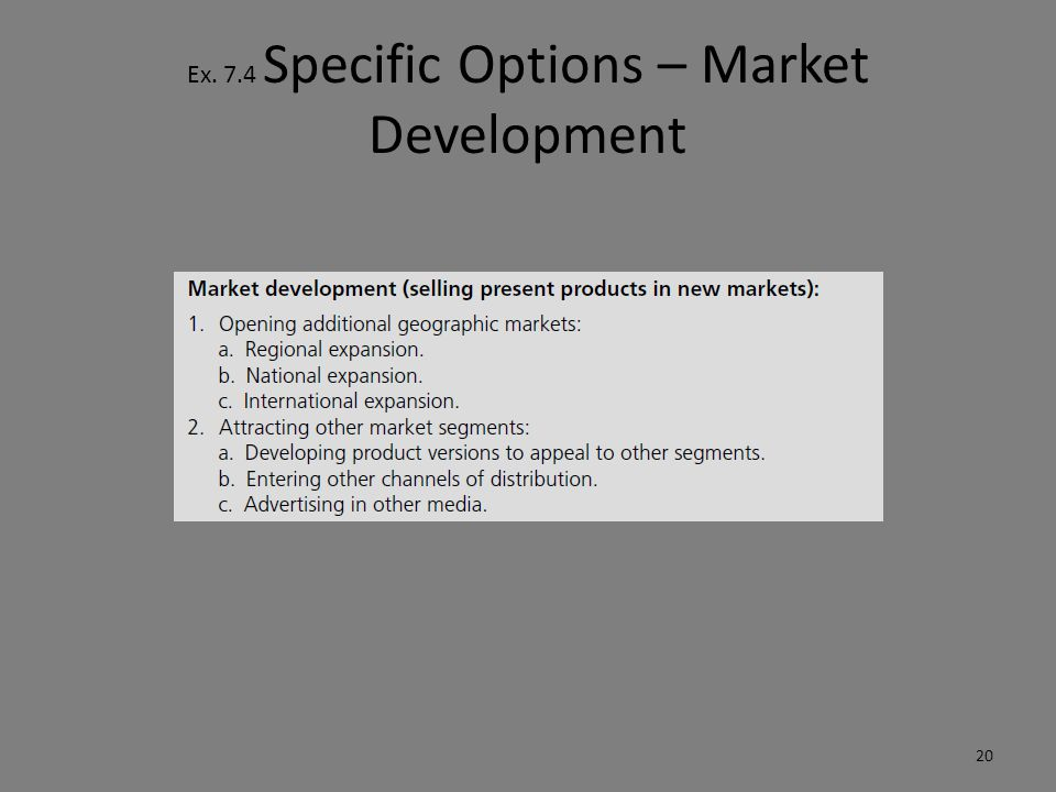 Ex. 7.4 Specific Options – Market Development